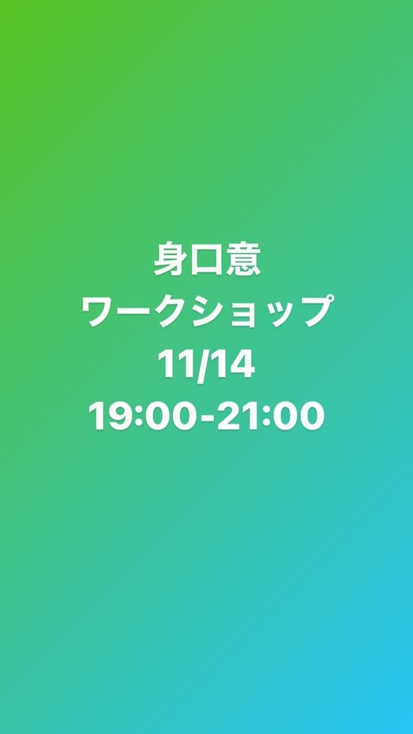 11月14日 zoom身口意のワークショップやります!
